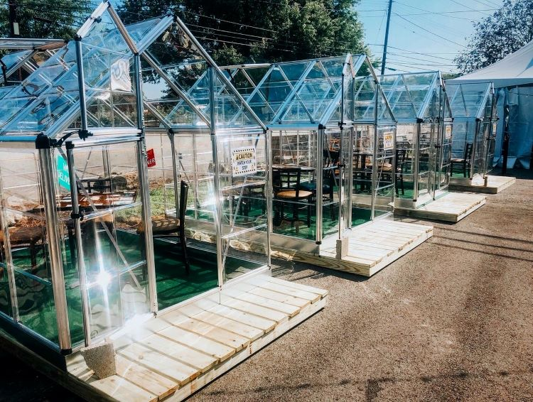 You can dine in a greenhouse or tent at North Park Lounge