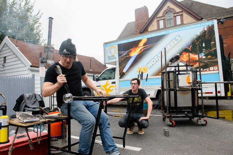 Hot Wheels, Pittsburgh Glass Center's mobile furnace, heats up local events